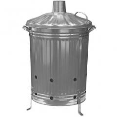 Galvanised Incinerator Bin with Lid