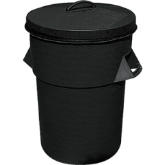 Black PVC Dustbin with Lid